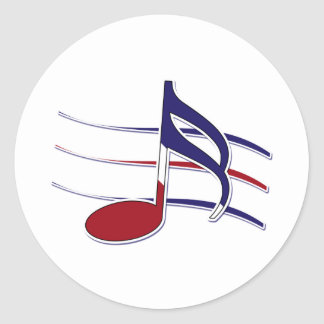 Nota patriótica de la música pegatina redonda