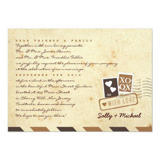 Nota personalizada de la letra de amor del correo invitación 12,7 x 17,8 cm