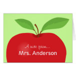 Nota roja de Apple A del notecard del profesor Tarjetón