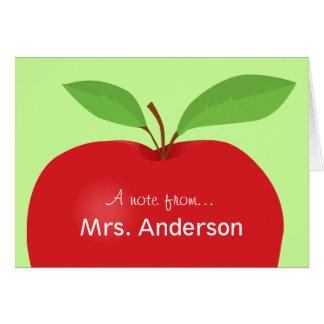 Nota roja de Apple A del notecard del profesor Tarjeta Pequeña