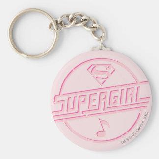 Nota rosada de la música de Supergirl Llavero Redondo Tipo Pin