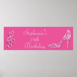 Nota rosada de la música y cumpleaños del estilete póster