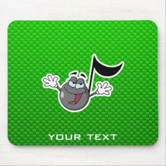 Nota verde de la música del dibujo animado tapete de raton