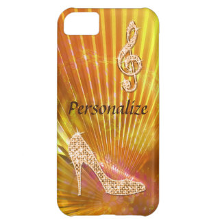 Nota y tacón de aguja anaranjados brillantes de la carcasa para iPhone 5C