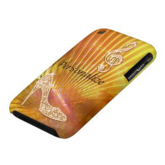 Nota y tacón de aguja anaranjados brillantes de la funda para iPhone 3