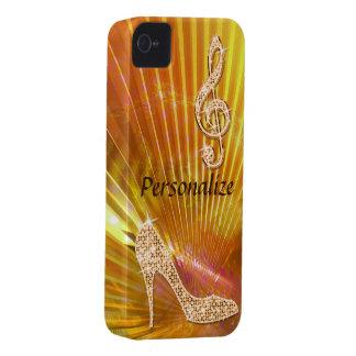 Nota y tacón de aguja anaranjados brillantes de la funda para iPhone 4 de Case-Mate