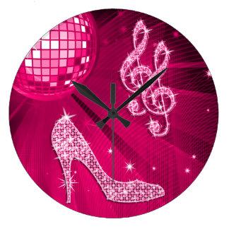 Nota y tacón de aguja brillantes de la música de l reloj redondo grande