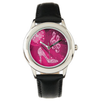 Nota y tacón de aguja brillantes de la música de relojes de pulsera