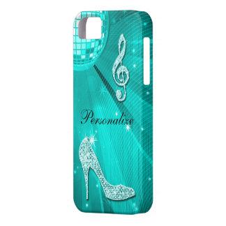 Nota y tacón de aguja brillantes de la música del  iPhone 5 Case-Mate funda