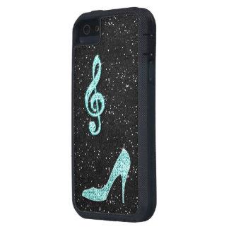 Nota y tacón de aguja brillantes de la música del funda para iPhone SE/5/5s