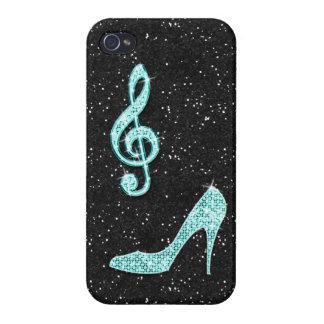 Nota y tacón de aguja brillantes de la música del iPhone 4/4S funda