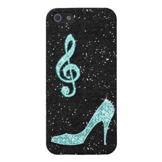 Nota y tacón de aguja brillantes de la música del  iPhone 5 carcasas