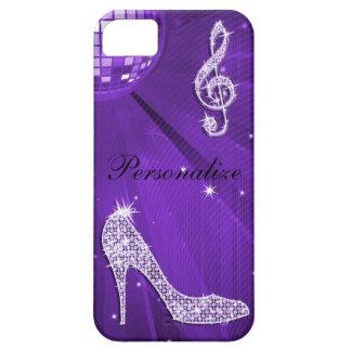 Nota y tacón de aguja púrpuras brillantes de la funda para iPhone SE/5/5s