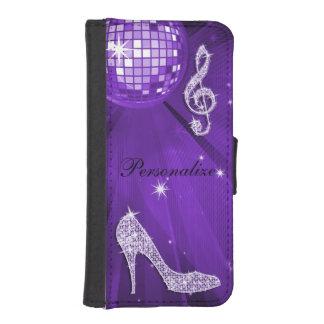 Nota y tacón de aguja púrpuras brillantes de la fundas tipo billetera para iPhone 5