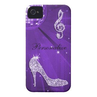 Nota y tacón de aguja púrpuras brillantes de la mú iPhone 4 Case-Mate fundas