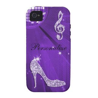Nota y tacón de aguja púrpuras brillantes de la mú vibe iPhone 4 funda