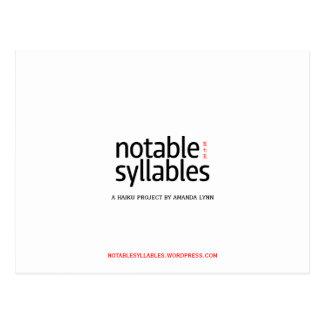 notable syllables postcard