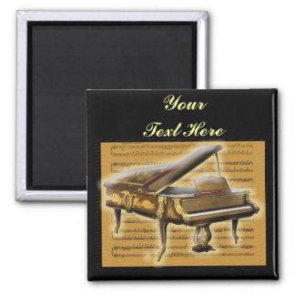 Notación antigua del piano y de música imán cuadrado
