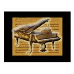 Notación antigua del piano y de música postales