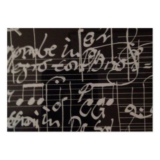 notación de música blanca en fondo negro tarjetas de visita grandes
