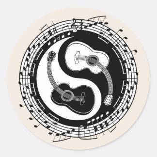 Notación de Yin Guit Pegatina Redonda