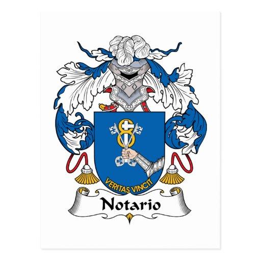 Notario Family Crest Postcard