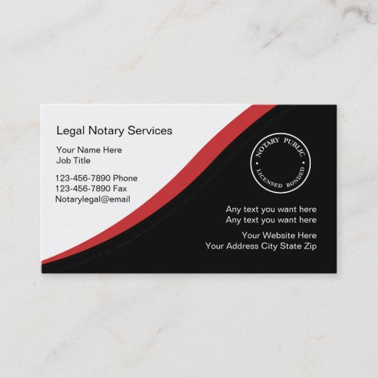 notary business card template - Notary Business Cards