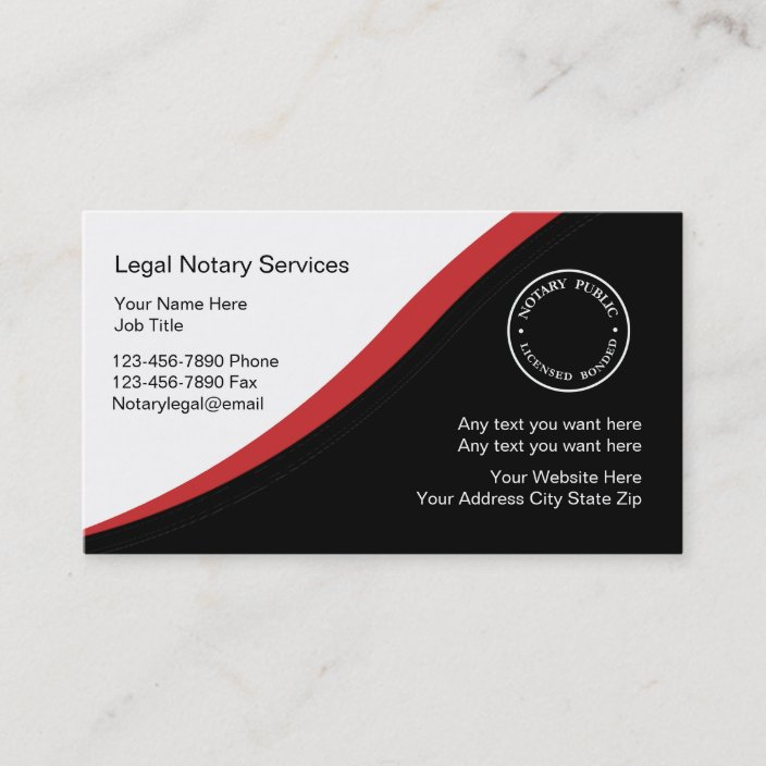 Notary Business Card Template Zazzle