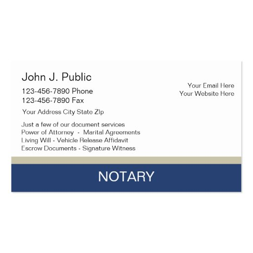 Notary business cards for Notary business card examples