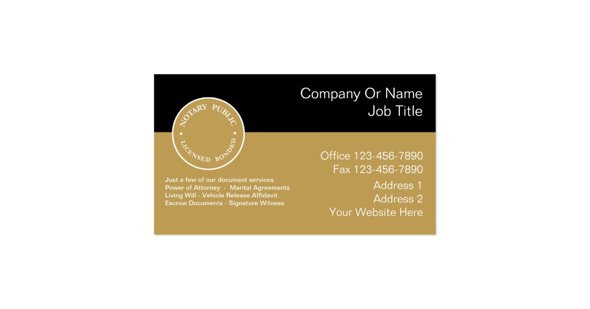 Notary Business Cards Zazzle