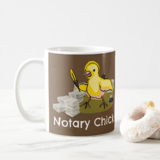Notary Chick with Feather Quill and Documents Coffee Mug