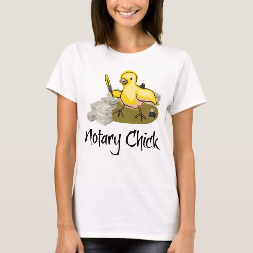 Notary Chick Yellow Feather Quill and Blank Paper T-Shirt