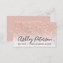 Notary elegant typography marble rose gold glitter business card