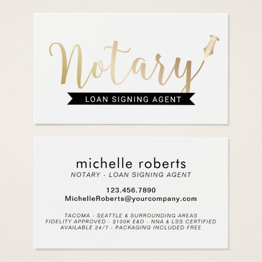 Notary loan signing agent elegant gold script business card zazzle notary loan signing agent elegant gold script business card reheart Choice Image