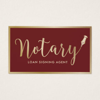 Notary Loan Signing Agent Modern Gold Framed Business Card