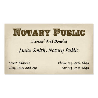 Notary Public Business Card