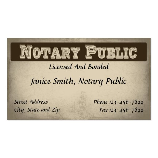 Seal business card templates bizcardstudio for Examples of notary public business cards