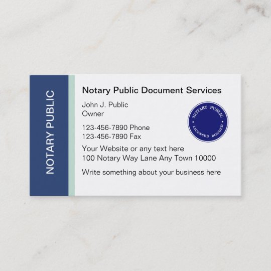 notary public business cards - Notary Public Business Cards