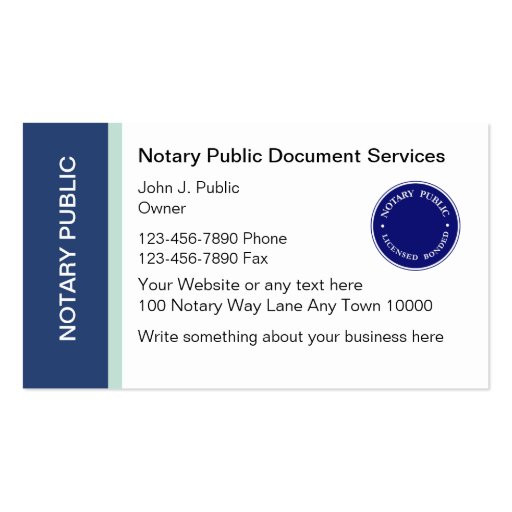 Notary public business cards zazzle for Examples of notary public business cards