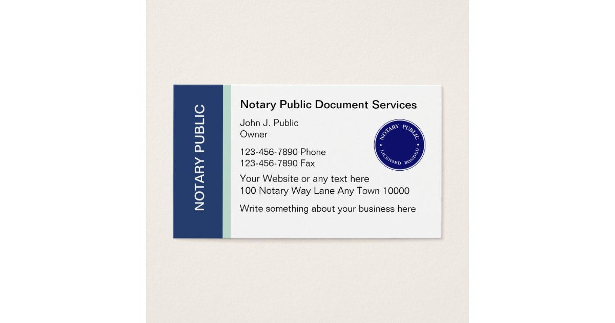 Notary Public Business Cards | Zazzle.com
