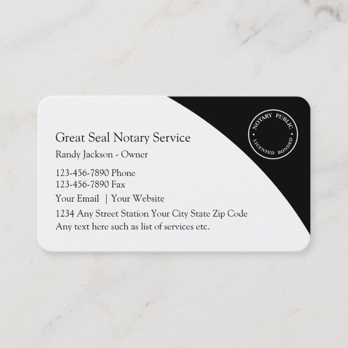 Notary Public Business Cards Zazzle