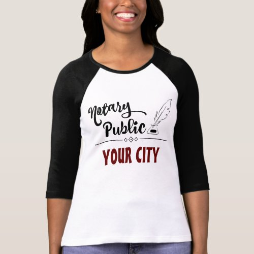 Notary Public Elegant Feather Quill Customized Raglan T-Shirt