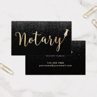 Notary Public Gold Typography Black Glitter Business Card