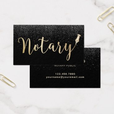Lawyer Themed Notary Public Gold Typography Black Glitter Business Card