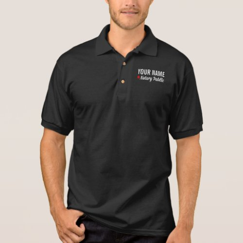 Notary Public Pride Red Circle Personalized with Name Polo Shirt