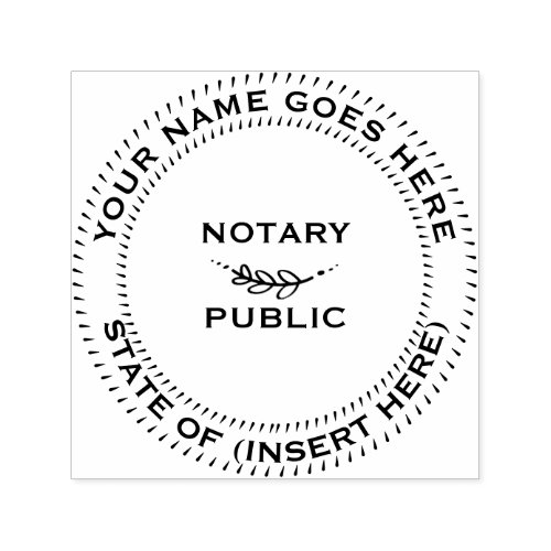 Notary Public round leaf motif Self_inking Stamp