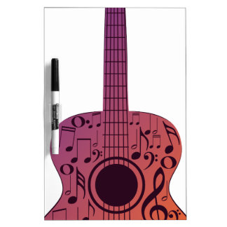 Notas 2 de la guitarra y de la música tablero blanco