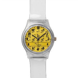 Notas amarillas conocidas personalizadas de la relojes de mano