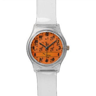 Notas anaranjadas conocidas personalizadas de la relojes de pulsera
