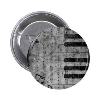 Notas antiguas frescas de la música del piano del  pin redondo 5 cm